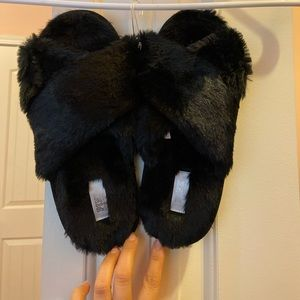 PINK Faux black fur slippers